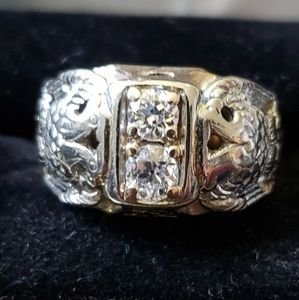 Rare!!! Vintage double diamond/Eagle MASONIC Ring